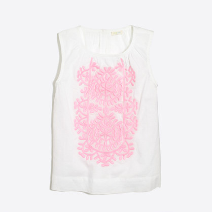Factory girls' sleeveless embroidered top