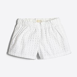 Factory girls' pull-on short in eyelet