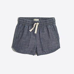 Factory girls' pull-on short in chambray