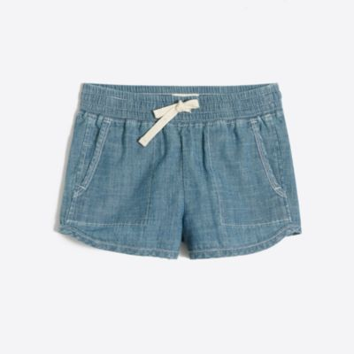 Girls' pull-on short in chambray factorygirls new arrivals c