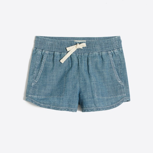 Girls' pull-on short in chambray