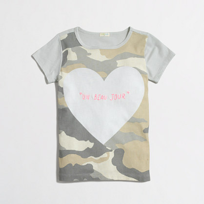 Girls' camo heart keepsake t-SHIRT