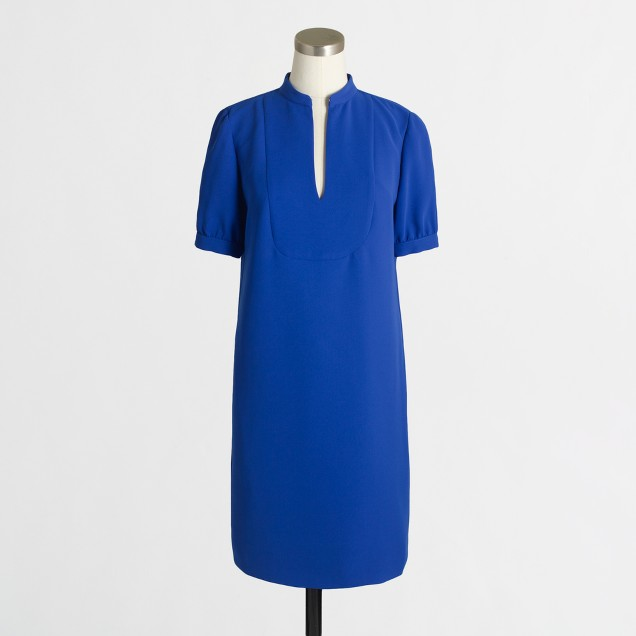 Crepe bib shirttail dress