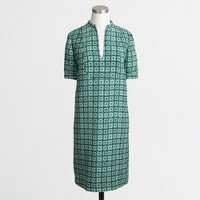 Printed crepe bib shirttail dress