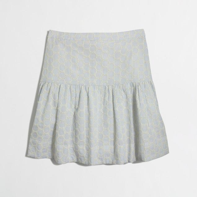 Seersucker eyelet skirt