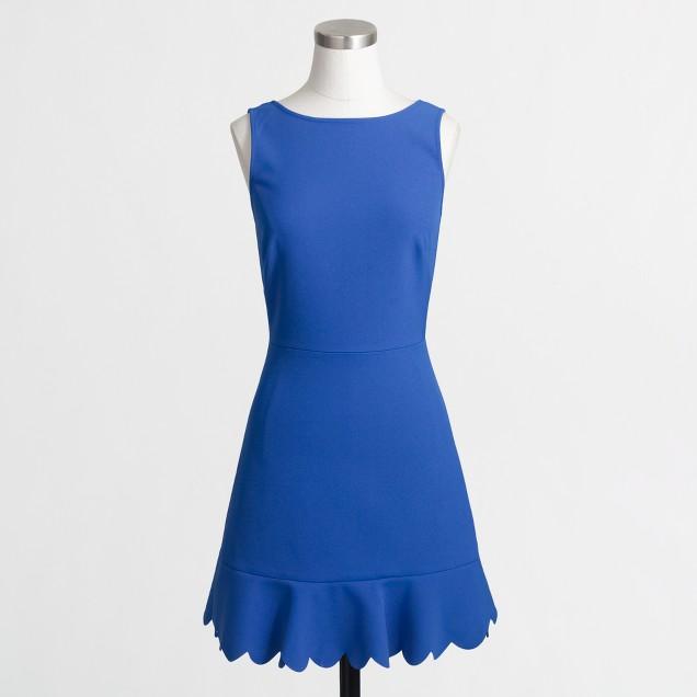 Petite scalloped drop-hem dress