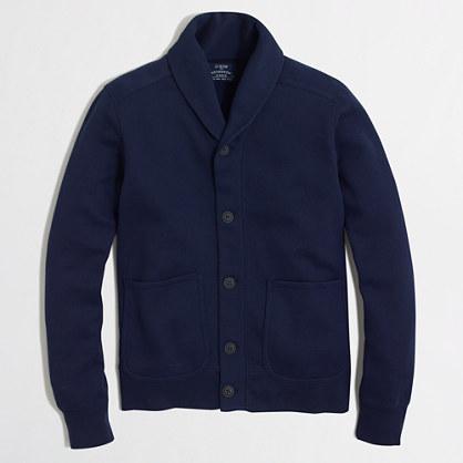 Fleece shawl-collar cardigan sweater