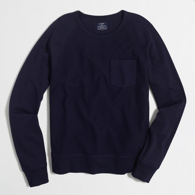 Tall lightweight textured fleece crewneck sweatshirt