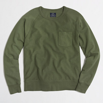 Lightweight textured fleece crewneck sweatshirt