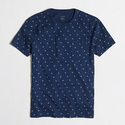 Slim indigo dot pocket t-SHIRT
