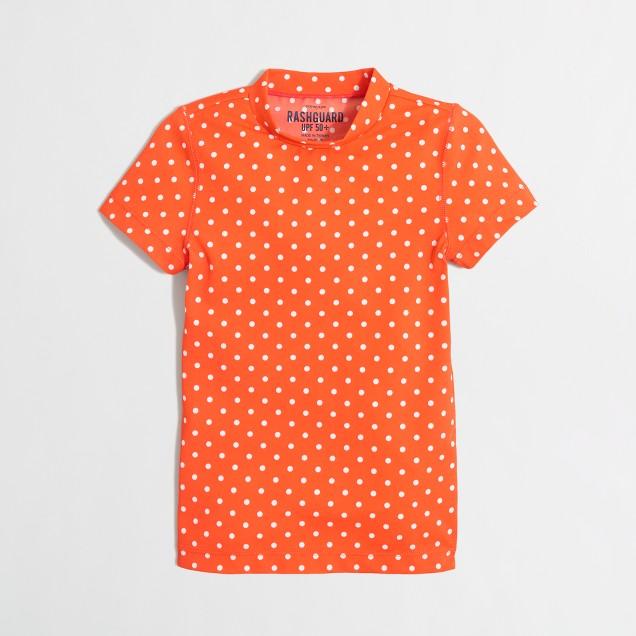 Girls' short-sleeve rash guard in small dot