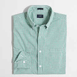 Factory slim washed shirt in mini-gingham