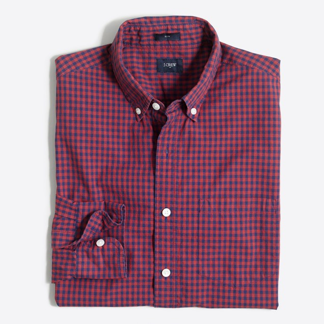 Slim washed shirt in mini-gingham