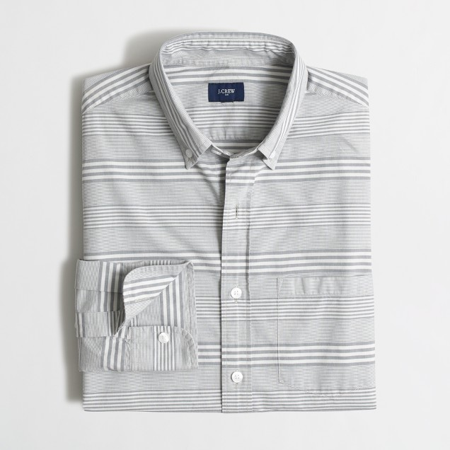 Washed shirt in horizontal stripe