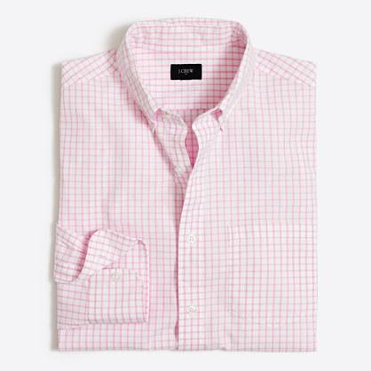 Washed shirt in mini-tattersall