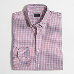 Factory washed shirt in mini-tattersall