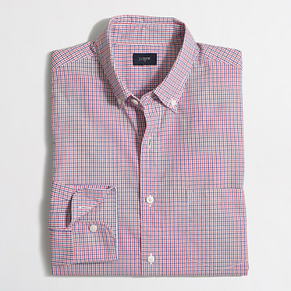 Washed shirt in mini-tattersall