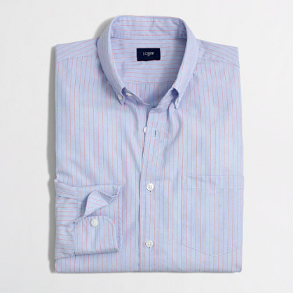 Washed shirt in end-on-end stripe
