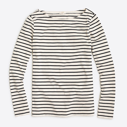 Long Sleeve Striped Boatneck T Shirt Striped J Crew