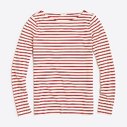 Factory long-sleeve striped boatneck T-shirt