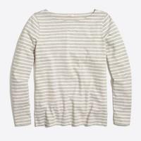 Long-sleeve striped boatneck T-shirt