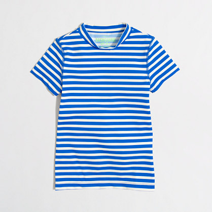 Girls' short-sleeve rash guard in stripe