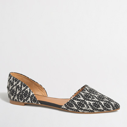 Graphic woven d'orsay flats