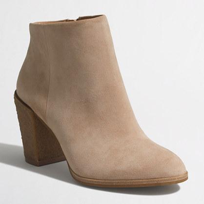 Crepe-heel suede booties