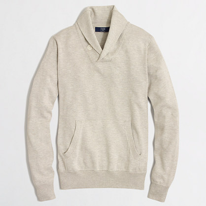 Heathered shawl-collar popover sweater