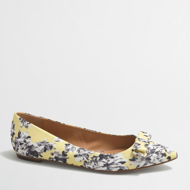 Amelia printed flats with bow