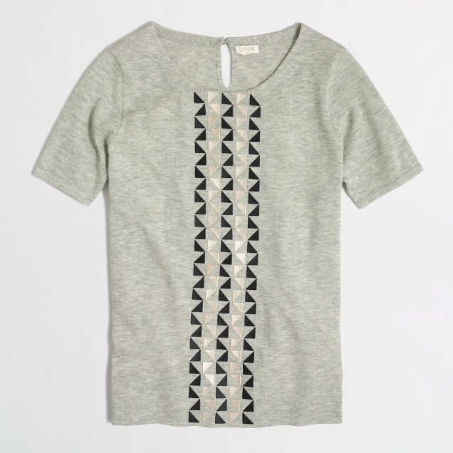 Geometric panel merino t-SHIRT