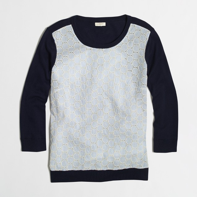 Textured woven-front sweater