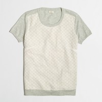 Short-sleeve eyelet-panel heathered sweater