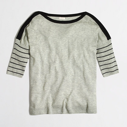 Stripe-sleeve sWEATER t-SHIRT