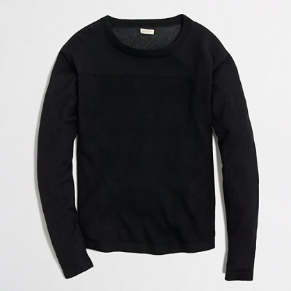Drop-sleeve sweater with sheer yoke