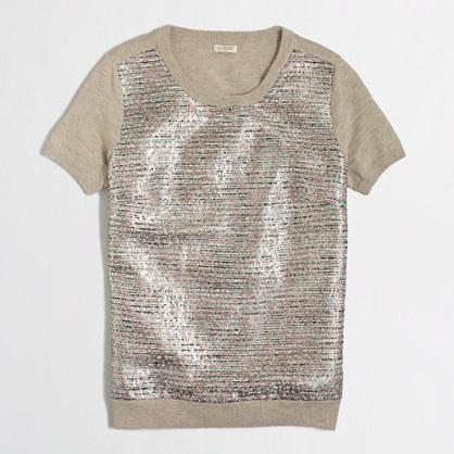 Metallic tweed panel heathered sweater