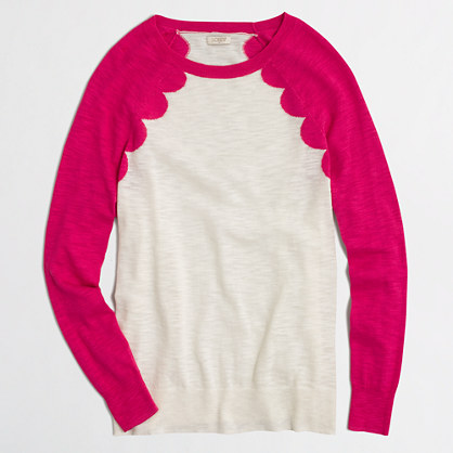 Scallop intarsia heathered sweater