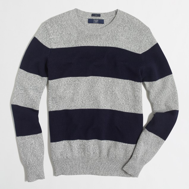 Slim wide-stripe cotton sweater