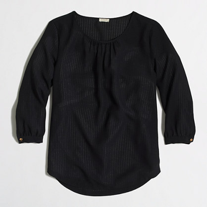 Three-quarter sleeve blouse in textured grid