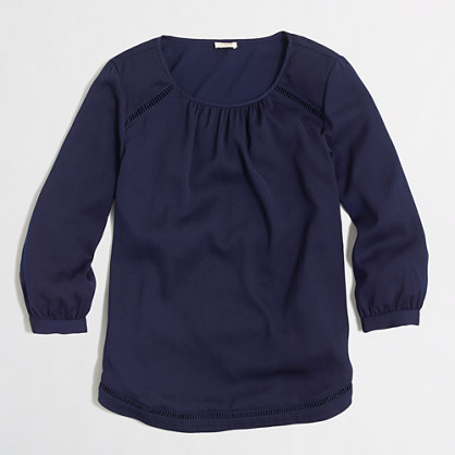 Three-quarter sleeve blouse with cutout details