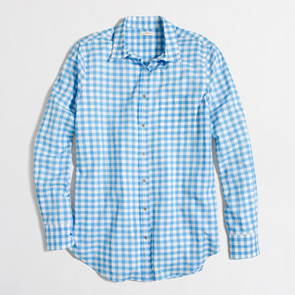 Factory classic button-down shirt in gingham
