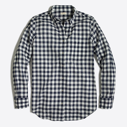Petite gingham button-down shirt in boy fit