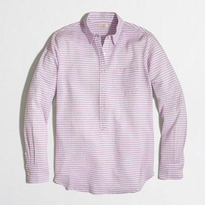 Crinkled cotton popover shirt in stripe
