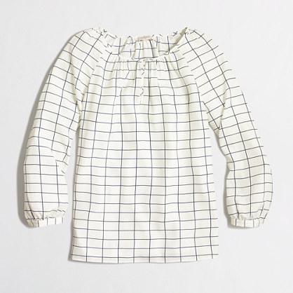 Three-quarter sleeve blouse in grid