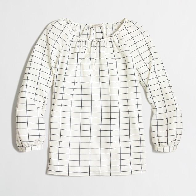 Three-quarter sleeve blouse in grid