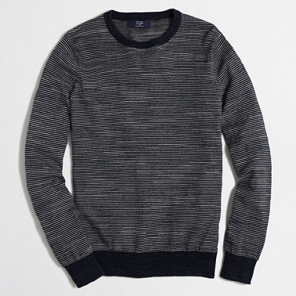 Tall stripe cotton crewneck sweater