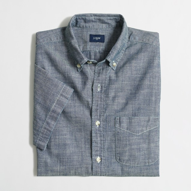 Short-sleeve chambray one-pocket shirt