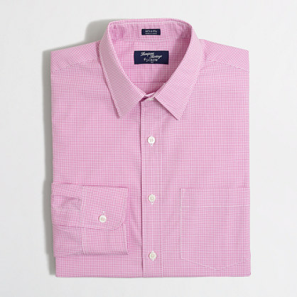 Thompson point-collar dress shirt in mini tattersall