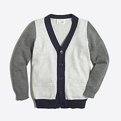 Boys' colorblock cardigan sweater