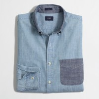 Slim contrast chambray one-pocket shirt